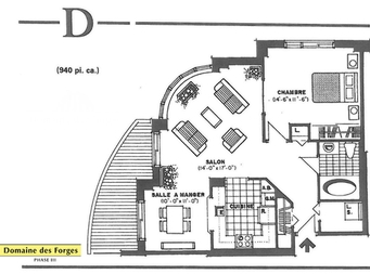 1 bedroom Independent living retirement homes for rent in Laval at Domaine des Forges III - Floorplan 01 - RentersPages – L19472