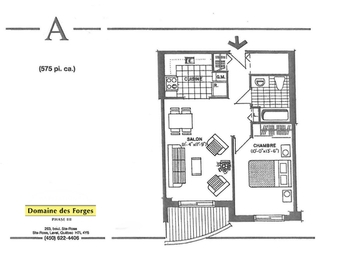 1 bedroom Independent living retirement homes for rent in Laval at Domaine des Forges III - Floorplan 01 - RentersPages – L19472