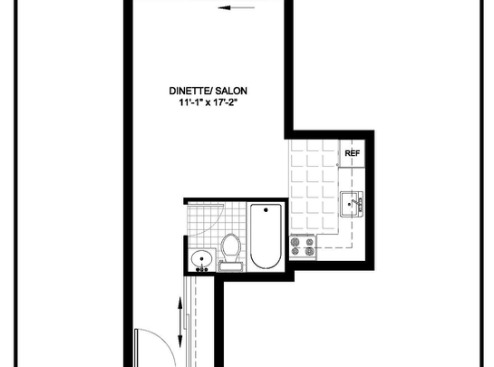 Studio / Bachelor Assisted living retirement homes for rent in Ahuntsic-Cartierville at Residences Tournesol - Floorplan 01 - RentersPages – L19539