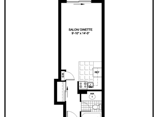 Studio / Bachelor Assisted living retirement homes for rent in Montreal-North at Residences Du Confort - Floorplan 01 - RentersPages – L19536