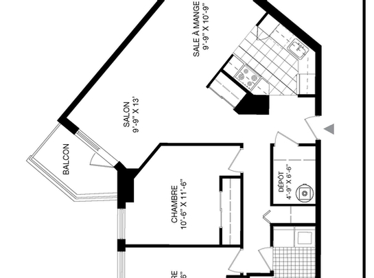 2 bedroom Independent living retirement homes for rent in Longueuil at Le Clair Matin - Floorplan 01 - RentersPages – L19495