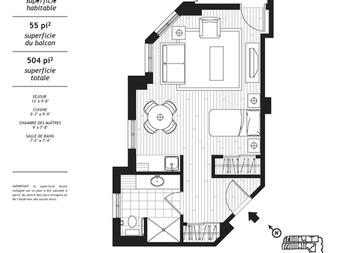 Studio / Bachelor Independent living retirement homes for rent in Levis at Jazz Levis - Floorplan 01 - RentersPages – L19562