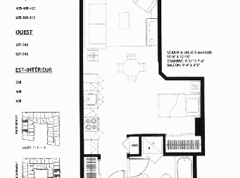 Studio / Bachelor Independent living retirement homes for rent in Sainte Foy at Jazz Ste-Foy - Floorplan 01 - RentersPages – L19564