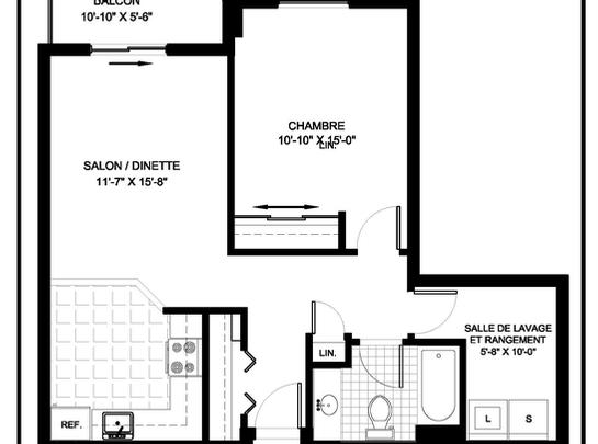 1 bedroom Independent living retirement homes for rent in Brossard at L Emerite de Brossard - Floorplan 01 - RentersPages – L19496