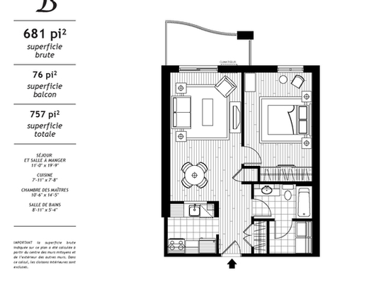 1 bedroom Independent living retirement homes for rent in Les Rivieres at Jazz Lebourgneuf - Floorplan 01 - RentersPages – L19558