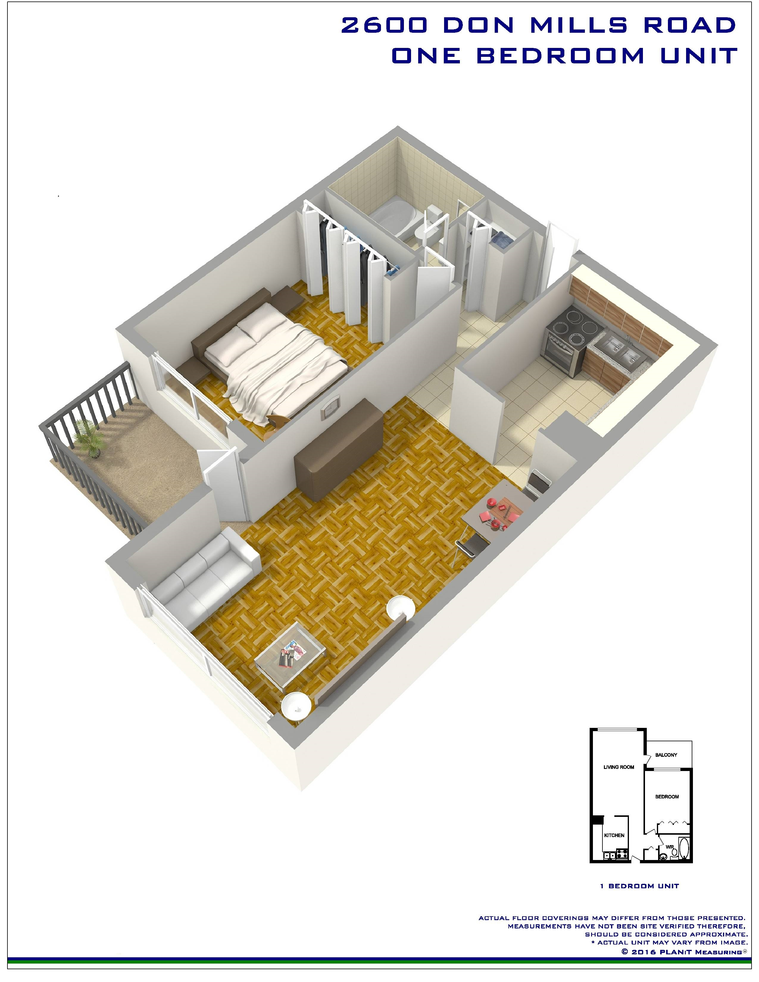 1 bedroom Apartments for rent in North-York at Hunters Lodge - Floorplan 01 - RentersPages – L400651