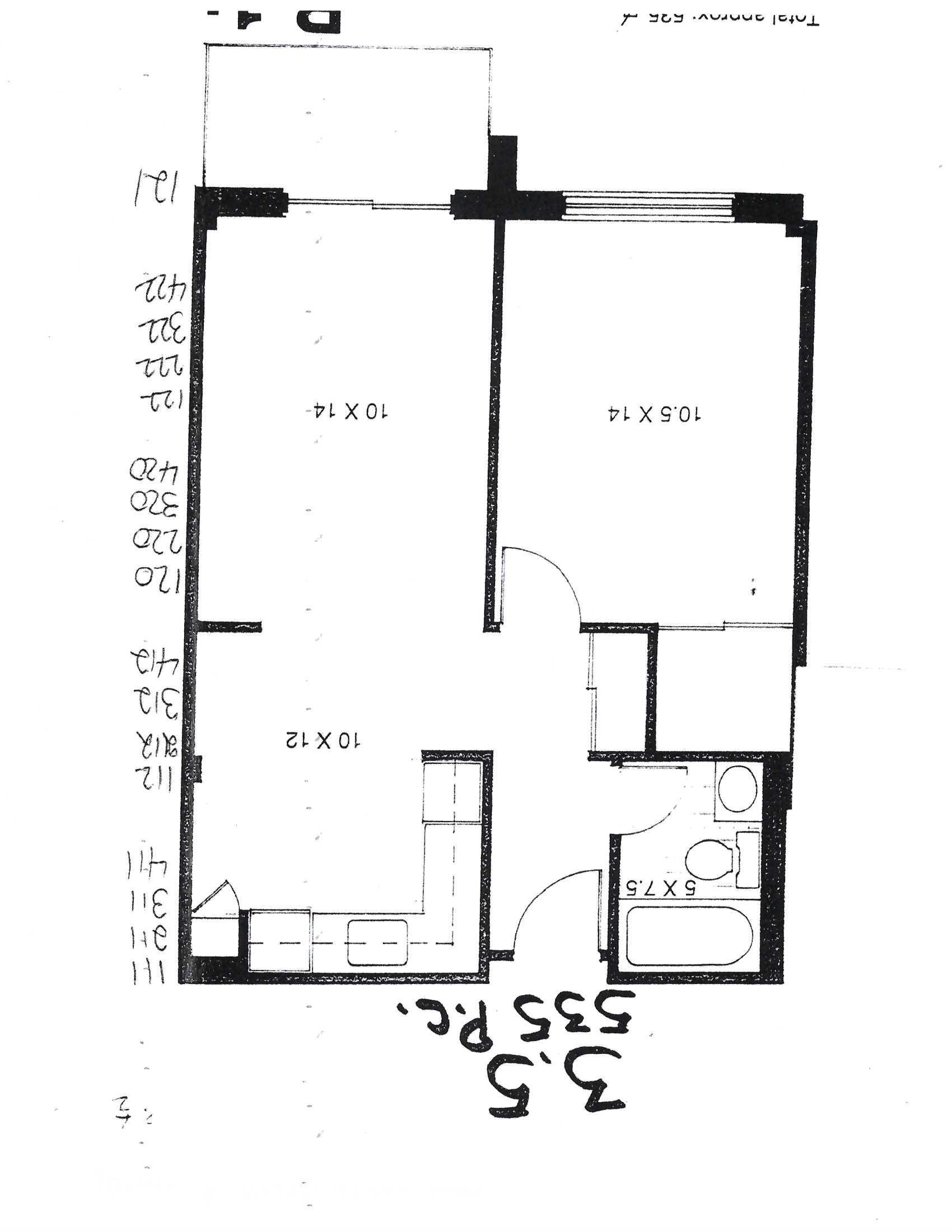 1 bedroom Apartments for rent in Pointe-aux-Trembles at Habitations de la Rousseliere - Floorplan 01 - RentersPages – L1921