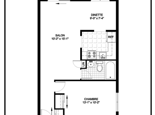 1 bedroom Assisted living retirement homes for rent in Ahuntsic-Cartierville at Residences Tournesol - Floorplan 01 - RentersPages – L19540