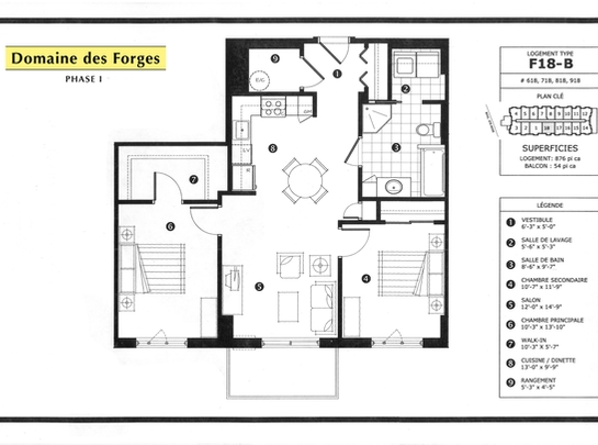 2 bedroom Independent living retirement homes for rent in Laval at Domaine des Forges I - Floorplan 01 - RentersPages – L19471