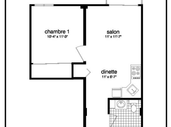 1 bedroom Independent living retirement homes for rent in Vaudreuil-Dorion at Les Jardins Vaudreuil - Floorplan 01 - RentersPages – L19504