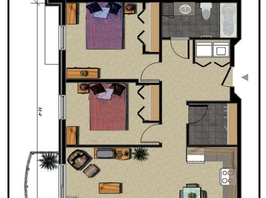 furnished 2 bedroom Independent living retirement homes for rent in Marieville at Les Jardins du Couvent - Floorplan 01 - RentersPages – L19502