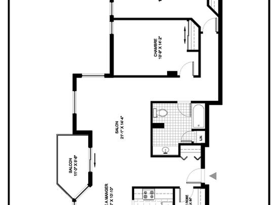 2 bedroom Independent living retirement homes for rent in Brossard at L Emerite de Brossard - Floorplan 01 - RentersPages – L19497