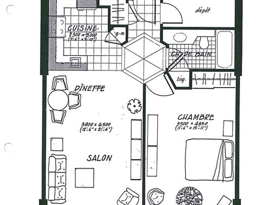1 bedroom Assisted living retirement homes for rent in Laval at Les Jardins de Renoir - Floorplan 01 - RentersPages – L19477