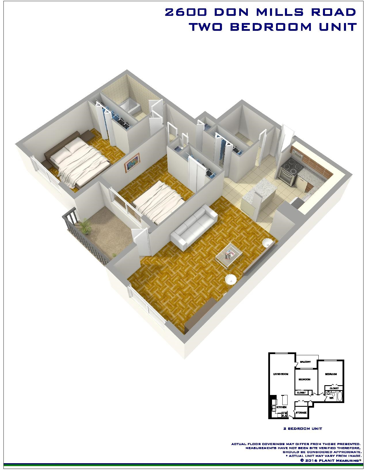 2 bedroom Apartments for rent in North-York at Hunters Lodge - Floorplan 01 - RentersPages – L138724