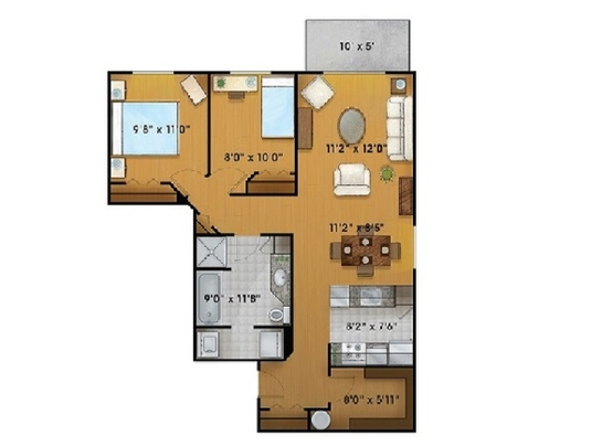 2 bedroom Independent living retirement homes for rent in Sainte Foy at Jardins Logidor - Floorplan 01 - RentersPages – L19556