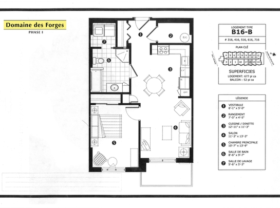 1 bedroom Independent living retirement homes for rent in Laval at Domaine des Forges I - Floorplan 01 - RentersPages – L19470