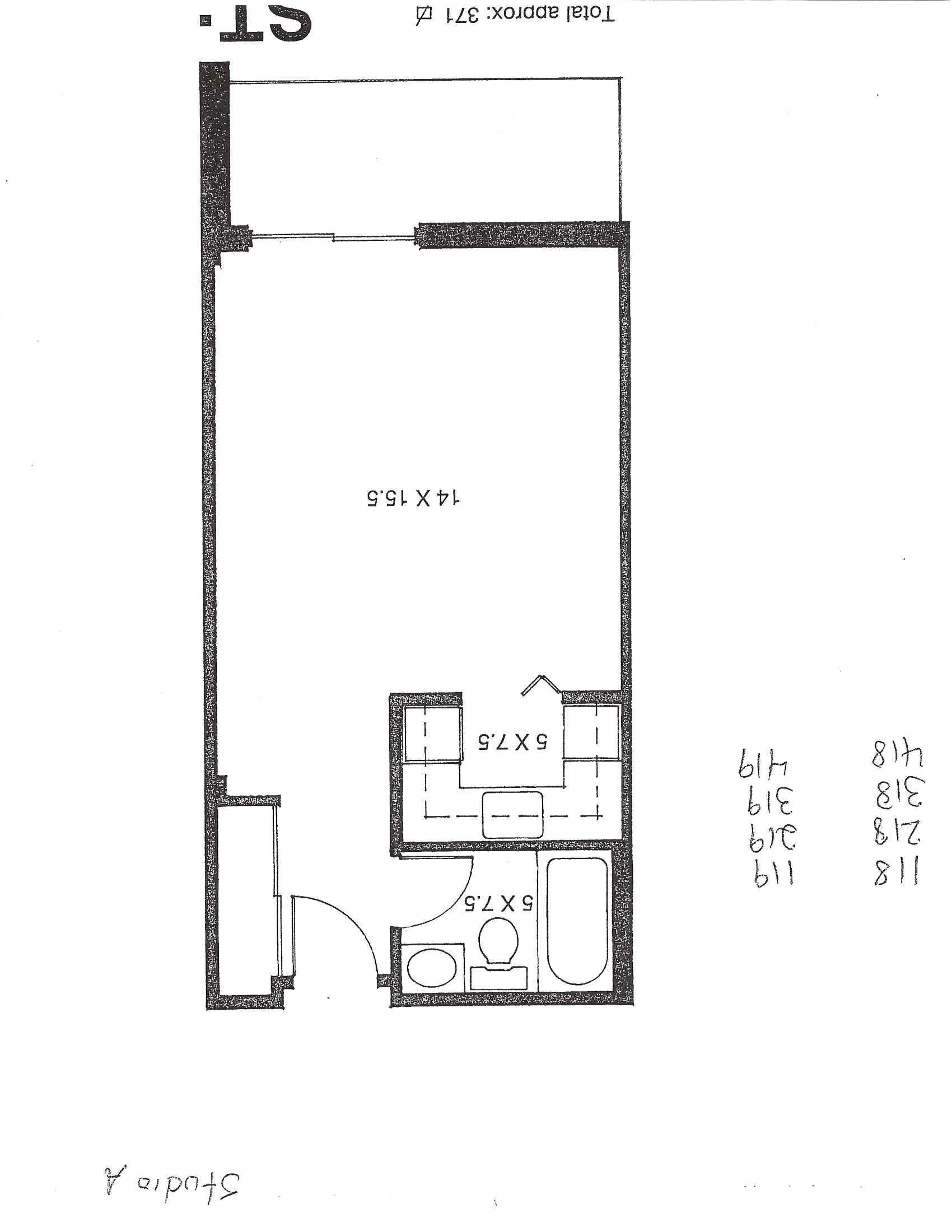 Studio / Bachelor Apartments for rent in Pointe-aux-Trembles at Habitations de la Rousseliere - Floorplan 01 - RentersPages – L1920