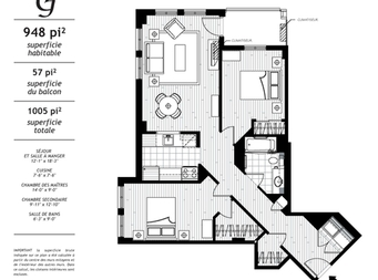 2 bedroom Independent living retirement homes for rent in Levis at Jazz Levis - Floorplan 01 - RentersPages – L19563