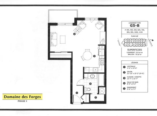 Studio / Bachelor Independent living retirement homes for rent in Laval at Domaine des Forges I - Floorplan 01 - RentersPages – L19469
