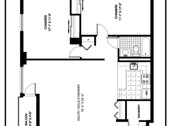 2 bedroom Independent living retirement homes for rent in Montreal-North at Complexe Gouin-Langelier - Floorplan 01 - RentersPages – L19521