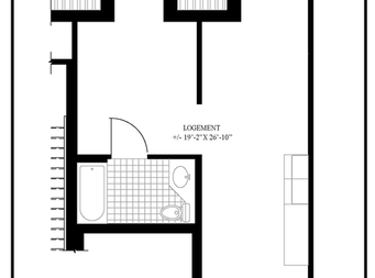 1 bedroom Independent living retirement homes for rent in McMasterville at Residences Richeloises - Floorplan 01 - RentersPages – L19507