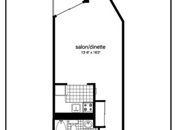 Studio / Bachelor Independent living retirement homes for rent in Montreal-North at Residence Sault-Au-Recollet - Floorplan 01 - RentersPages – L19533