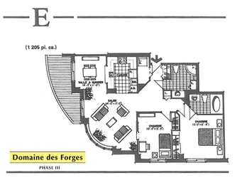 2 bedroom Independent living retirement homes for rent in Laval at Domaine des Forges III - Floorplan 01 - RentersPages – L19473