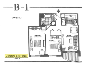 2 bedroom Independent living retirement homes for rent in Laval at Domaine des Forges III - Floorplan 01 - RentersPages – L19473