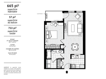 1 bedroom Independent living retirement homes for rent in Levis at Jazz Levis - Floorplan 01 - RentersPages – L19561