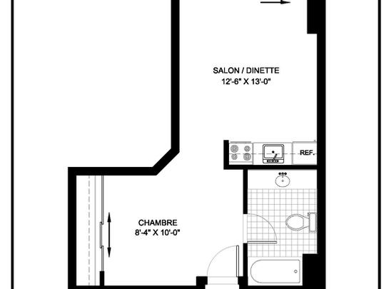 Studio / Bachelor Independent living retirement homes for rent in Brossard at L Emerite de Brossard - Floorplan 01 - RentersPages – L19498