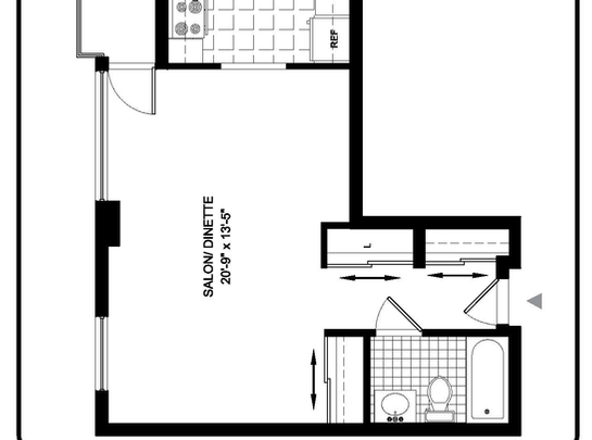 Studio / Bachelor Independent living retirement homes for rent in Montreal-North at Complexe Gouin-Langelier - Floorplan 01 - RentersPages – L19519