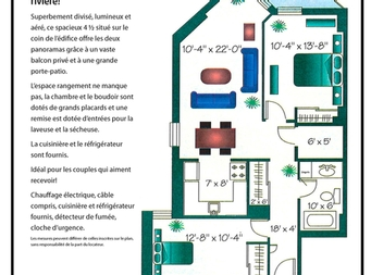 2 bedroom Independent living retirement homes for rent in Montreal-North at Chateau Beaurivage - Floorplan 01 - RentersPages – L19511