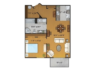 1 bedroom Independent living retirement homes for rent in Sainte Foy at Jardins Logidor - Floorplan 01 - RentersPages – L19555