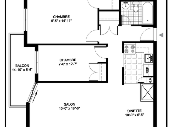 2 bedroom Assisted living retirement homes for rent in Montreal-North at Residences Du Confort - Floorplan 01 - RentersPages – L19538