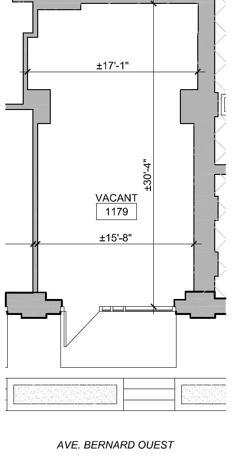 General retail space for rent in Outremont at 1155-1185 Bernard West - Floorplan 01 - RentersPages – L12778