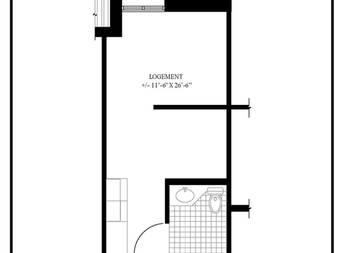 Studio / Bachelor Independent living retirement homes for rent in McMasterville at Residences Richeloises - Floorplan 01 - RentersPages – L19506