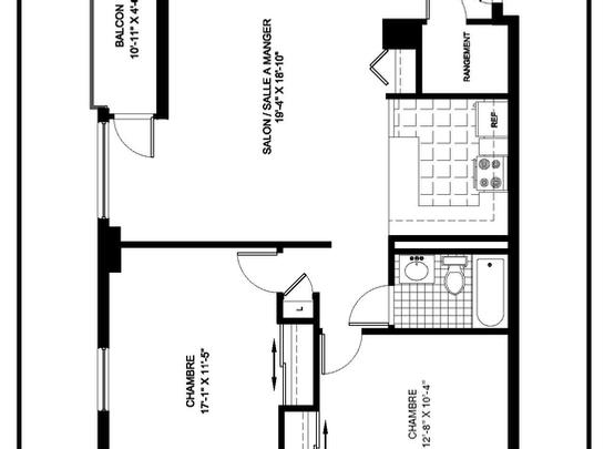 1 bedroom Independent living retirement homes for rent in Montreal-North at Complexe Gouin-Langelier - Floorplan 01 - RentersPages – L19520