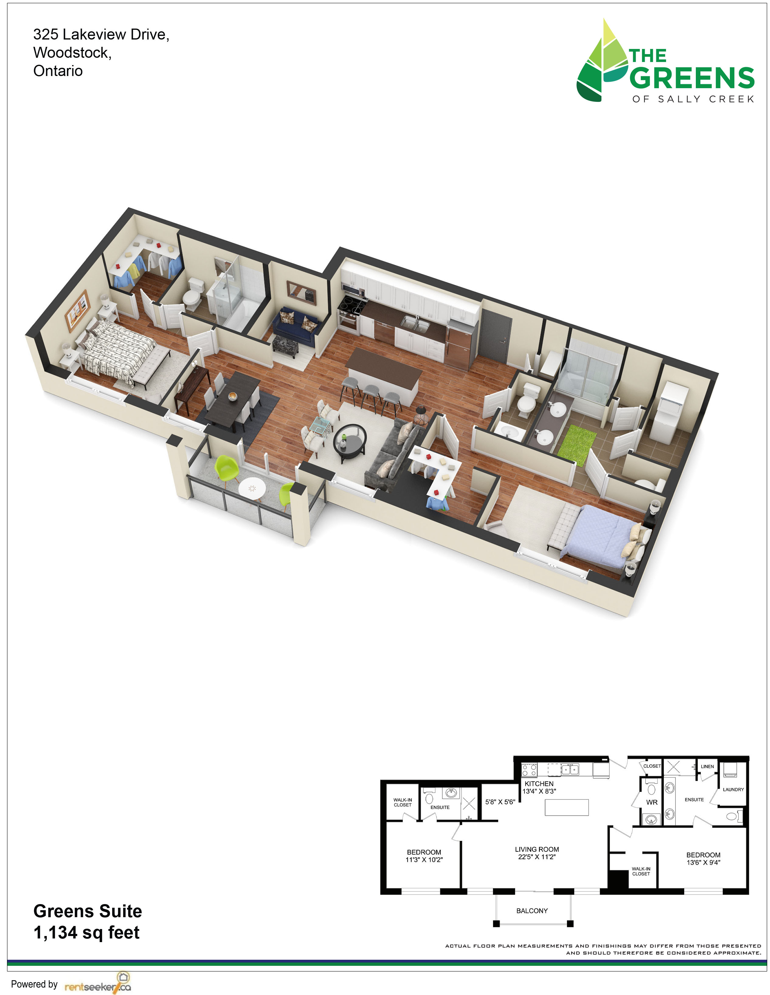 luxurious 2 bedroom Apartments for rent in Woodstock at The Greens Of Sally Creek - Floorplan 01 - RentersPages – L213458