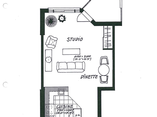 Studio / Bachelor Assisted living retirement homes for rent in Laval at Les Jardins de Renoir - Floorplan 01 - RentersPages – L19474