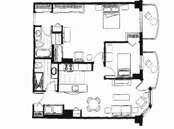 2 bedroom Independent living retirement homes for rent in Sainte Foy at Jazz Ste-Foy - Floorplan 01 - RentersPages – L19567