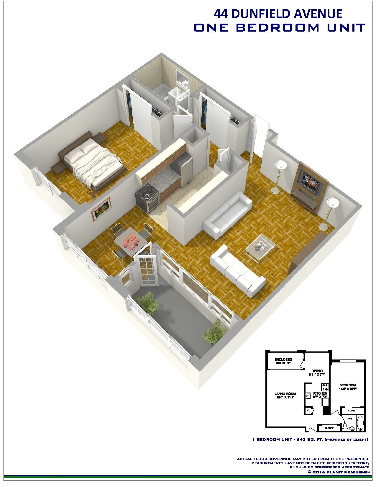 1 bedroom Apartments for rent in Toronto at Dunfield Tower - Floorplan 01 - RentersPages – L138879
