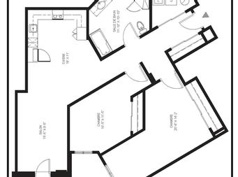 2 bedroom Independent living retirement homes for rent in McMasterville at Residences Richeloises - Floorplan 01 - RentersPages – L19508