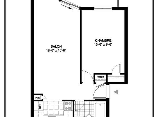 1 bedroom Assisted living retirement homes for rent in Montreal-North at Residences Du Confort - Floorplan 01 - RentersPages – L19537