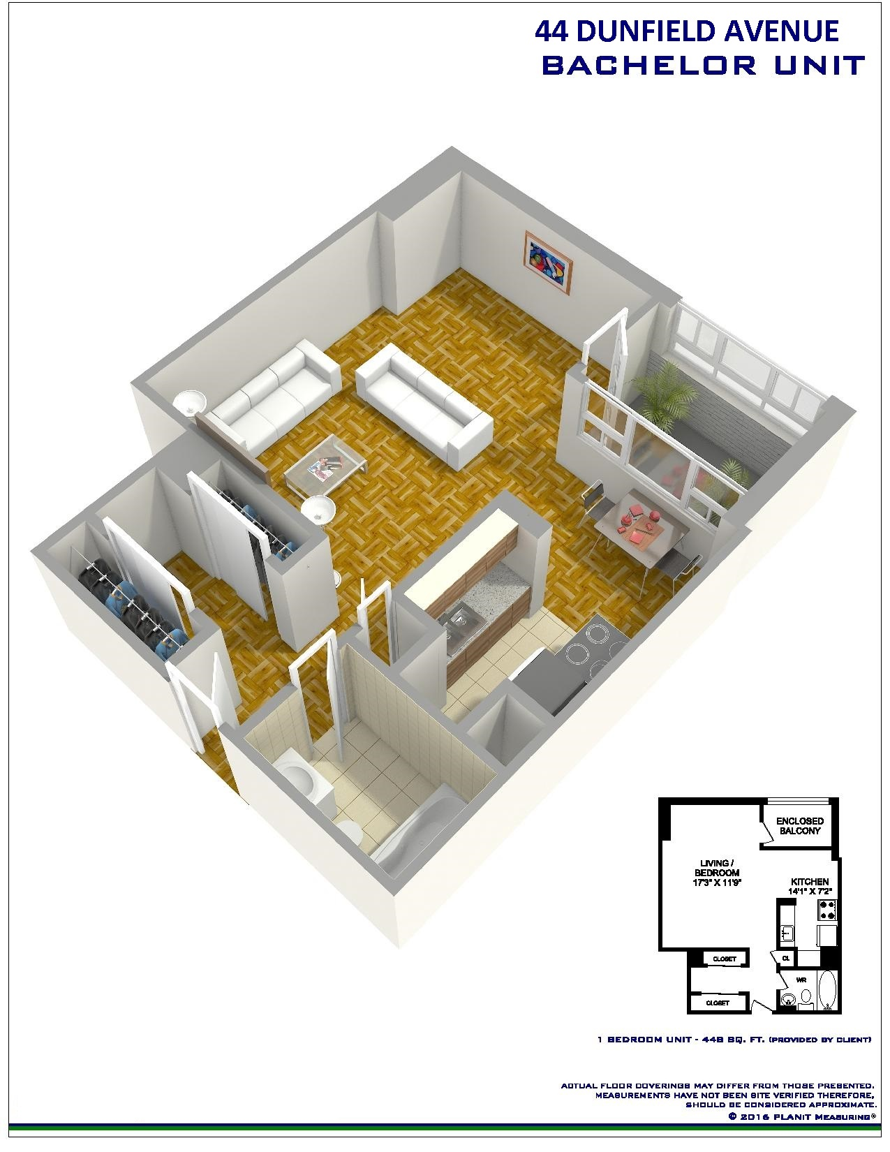 Studio / Bachelor Apartments for rent in Toronto at Dunfield Tower - Floorplan 01 - RentersPages – L138878