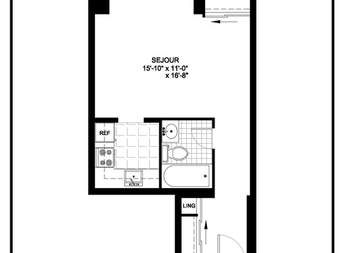 Studio / Bachelor Independent living retirement homes for rent in Outremont at Manoir Outremont - Floorplan 01 - RentersPages – L19530