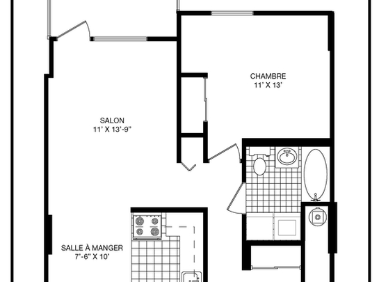 1 bedroom Independent living retirement homes for rent in Longueuil at Le Clair Matin - Floorplan 01 - RentersPages – L19494