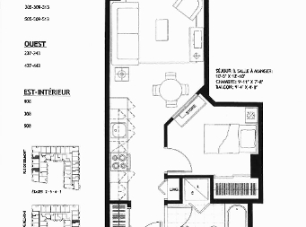 1 bedroom Independent living retirement homes for rent in Sainte Foy at Jazz Ste-Foy - Floorplan 01 - RentersPages – L19565